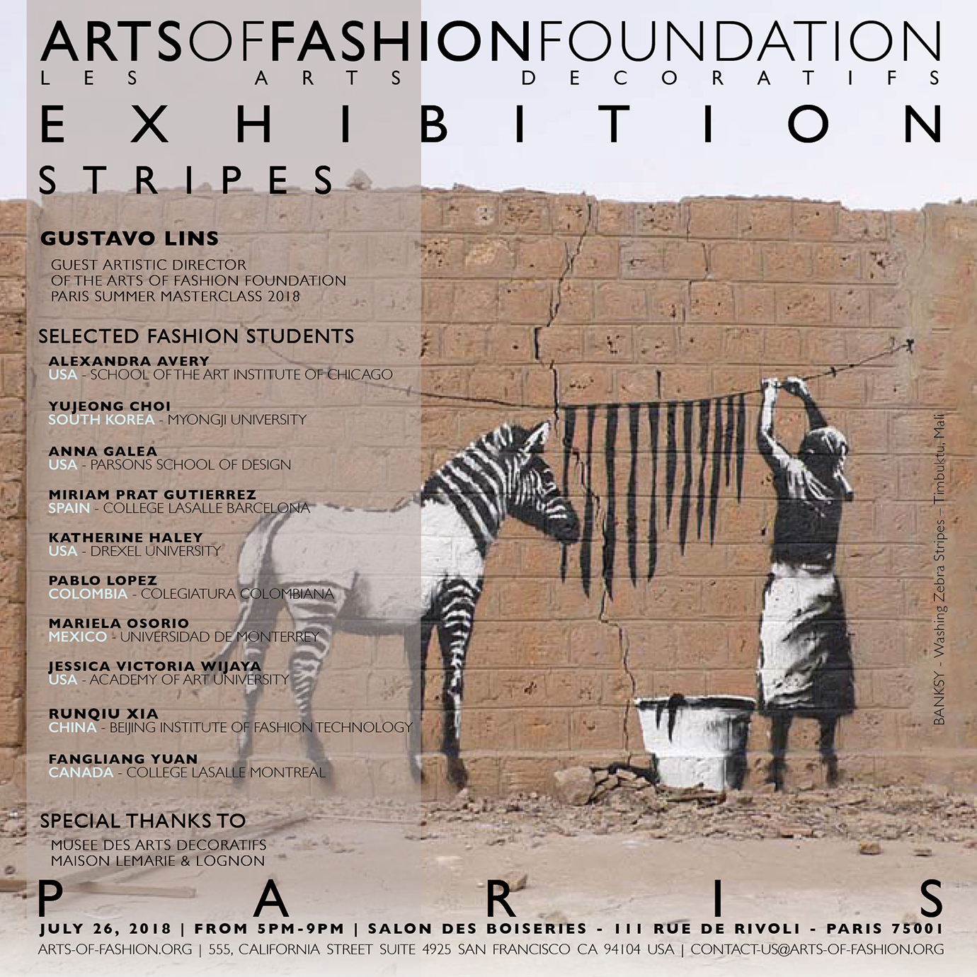Arts of Fashion Foundation summer Masterclass 2018 - Paris